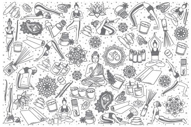 Hand getrokken yoga doodle set