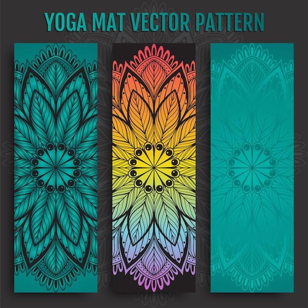 Hand getrokken yogamat set