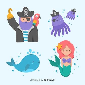 Hand getrokken zeekaraktersinzameling