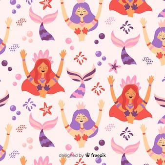 Hand getrokken zeemeermin glimlachend patroon