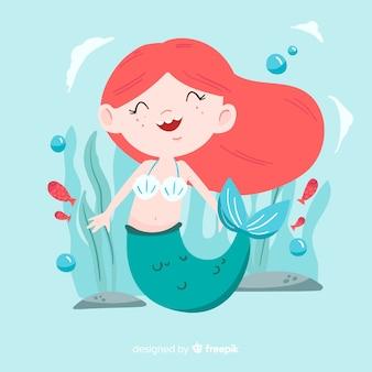 Hand getrokken zeemeermin karakter achtergrond