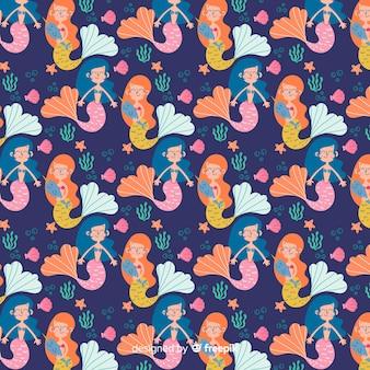 Hand getrokken zeemeermin karakter patroon