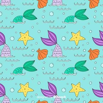 Hand getrokken zeemeermin patroon