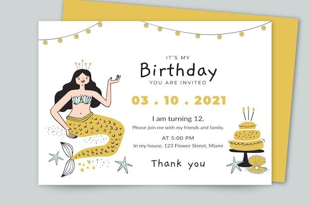 Hand getrokken zeemeermin verjaardag uitnodiging sjabloon