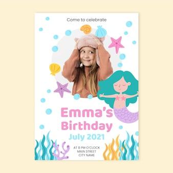 Hand getrokken zeemeermin verjaardagsuitnodiging met fotosjabloon