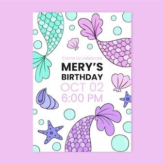 Hand getrokken zeemeermin verjaardagsuitnodiging