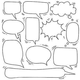 Hand getrokken zeepbel toespraak in doodle stijl geïsoleerd op een witte achtergrond, vector hand getrokken instellen zeepbel toespraak thema. vector illustratie