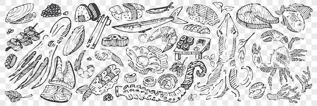 Hand getrokken zeevruchten doodle set. collectie van potloodkrijt tekening schetsen van sushi kreeft inktvis kaviaar mosselen octopus en oceaan vis op transparante achtergrond. exotische mariene gerechten illustratie.