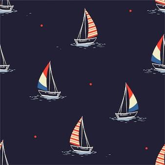 Hand getrokken zeilboot in het zee-patroon