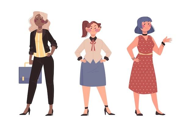 Hand getrokken zelfverzekerde vrouwelijke ondernemers set
