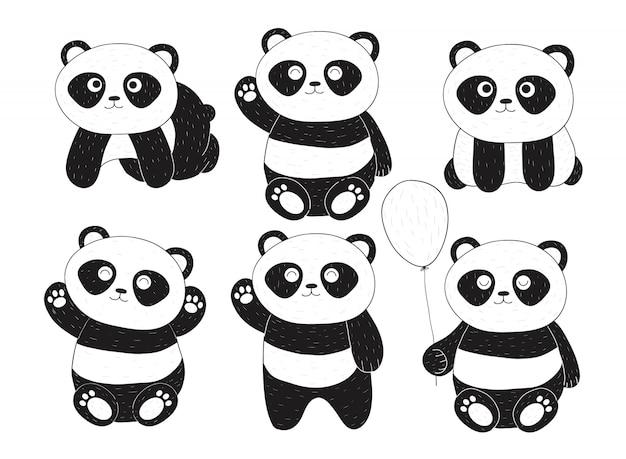 Hand getrokken zes schattige panda's met verschillende uitdrukkingen