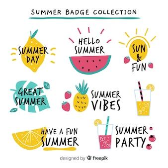 Hand getrokken zomer badge collectie
