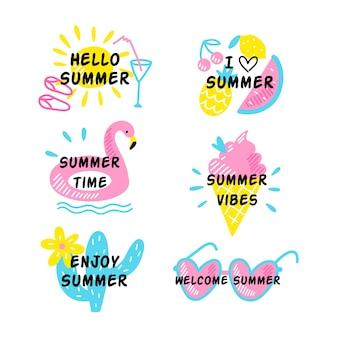Hand getrokken zomer badges collectie