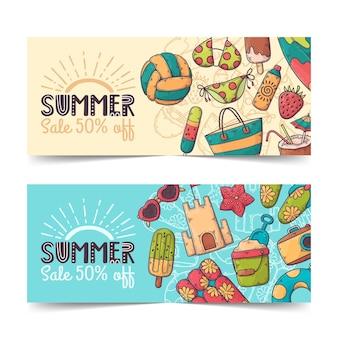 Hand getrokken zomer banners