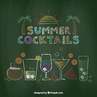Hand getrokken zomer cocktails