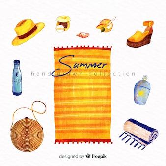 Hand getrokken zomer element collectie