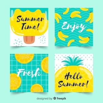 Hand getrokken zomer kaart collectie