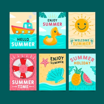 Hand getrokken zomer kaart pack sjabloon