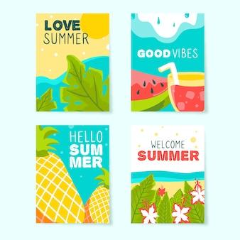 Hand getrokken zomer kaartsjabloon collectie