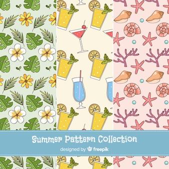 Hand getrokken zomer patroon collectie