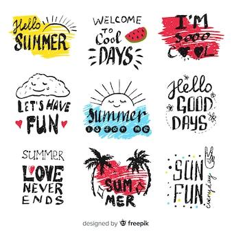 Hand getrokken zomer stickers instellen Gratis Vector