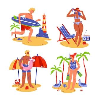 Hand getrokken zomer stickers set