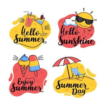 Hand getrokken zomeretiketten