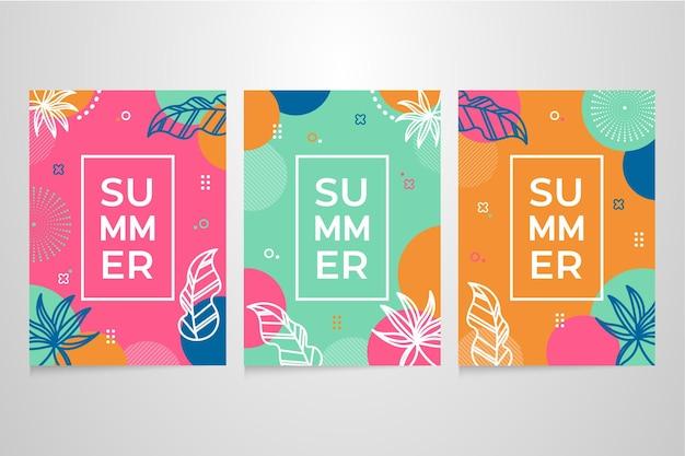 Hand getrokken zomerkaart collectie