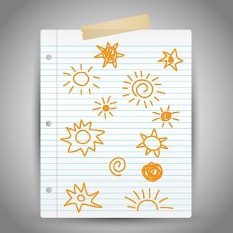 Hand getrokken zon doodles