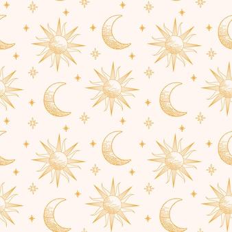 Hand getrokken zon en maanpatroon