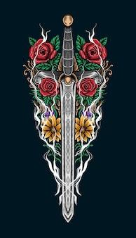 Hand getrokken zwaard met rozen