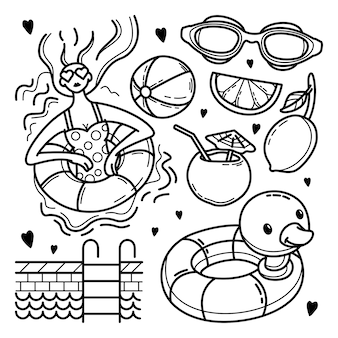 Hand getrokken zwembad doodle set
