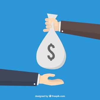 Hand geven van geld zak om andere kant