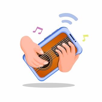 Hand gitaarspelen op smartphone. virtuele muziekinstrument mobiele app concept illustratie cartoon op een witte achtergrond