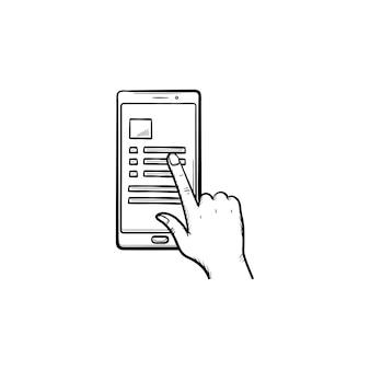 Hand glijdende smartphone met lijstpictogram hand getrokken schets doodle. lijst met contacten en chatten, weergaveconcept