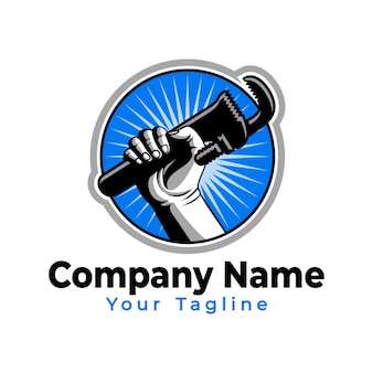 Hand held sanitair gereedschap logo sjabloon