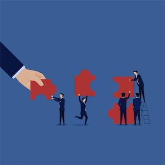 Hand help business team instellen puzzel