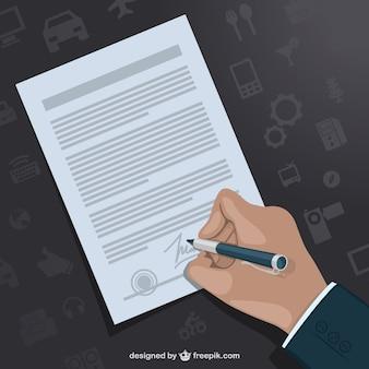 Hand het ondertekenen contract vector sjabloon