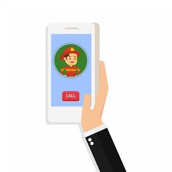 Hand hold cell smart phone toepassing online brandweerman