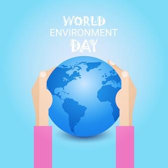 Hand hold earth day wereldwijde ecologische wereld bescherming vakantie concept