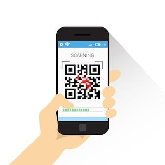 Hand hold smart phone scanning qr-codepictogram streepjescodescan met telefoon
