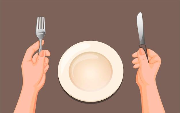 Hand holdind mes en vork met schotel bestek set van bovenaanzicht klaar om te eten symbool in cartoon afbeelding