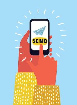 Hand holing smartphone met lege tekstballon voor tekst