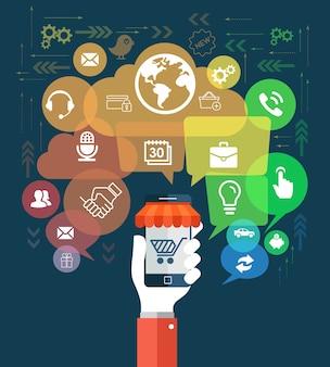 Hand houd mobiele telefoon met sociale media concept Premium Vector