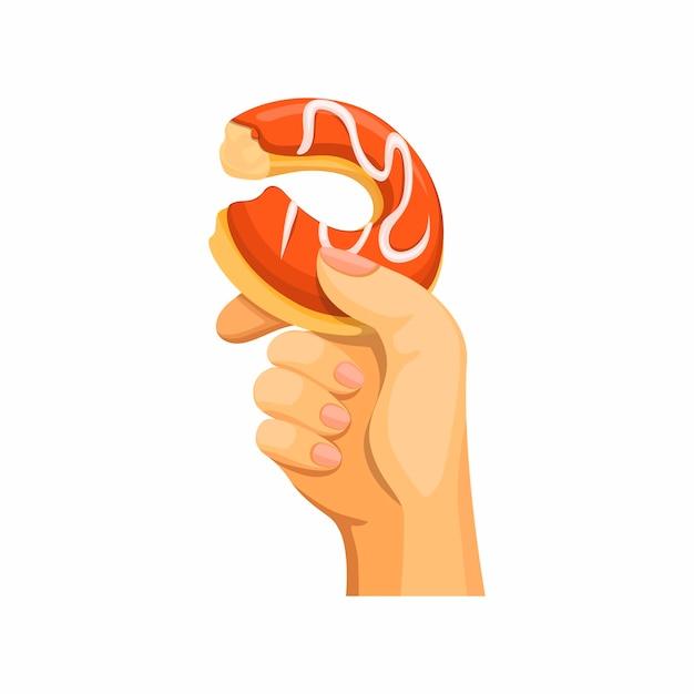 Hand houden bijten donut in cartoon illustratie vector geïsoleerd