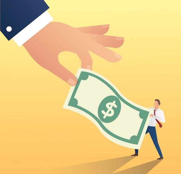 Hand houden dollar pictogram met zakenman