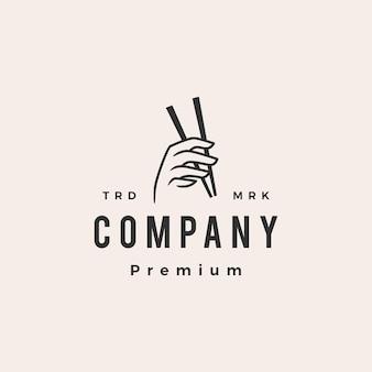 Hand houden eetstokje hipster vintage logo