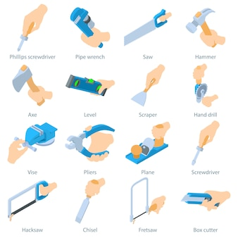 Hand houden gereedschapspictogrammen instellen. isometrische illustratie van 16 vectorfiguren van parfumflessen voor web