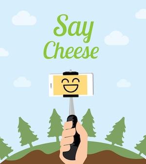 Hand houden monopod selfie stok bij boom op berg met mooie blauwe hemel, zeg kaas