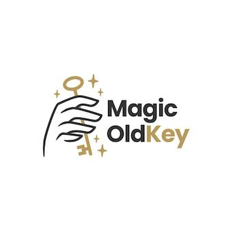 Hand houden oude sleutel magische mystieke logo sjabloon